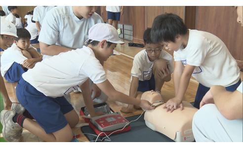 小学生の救命講習(BSNテレビ「NEWSゆうなび」)